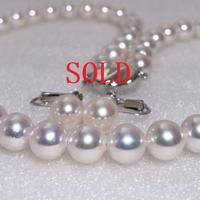 ¥115,000 アコヤ真珠ネックレス8.0-8.5mm k14WGイヤリング新品ケース付き