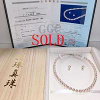 ¥60,000 アコヤ真珠ネックレス花珠鑑別付きk14WG ピアスセット新品桐箱付き