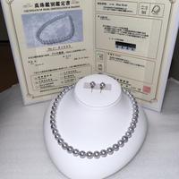 ¥143,000 アコヤ真珠ネックレス NBオーロラBlue rosé ペア付き新品ケース付き