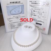 ¥128,000 アコヤ真珠ネックレス無調色8.0-8.5mm ペアセット新品ケース付き
