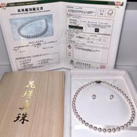 ¥340,000あこや真珠ネックレスオーロラ天女特別品8.5-9.0mmペア付き桐箱付き