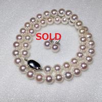 ¥76,000 アコヤ真珠ネックレス8.5-9.0mm k14WGピアスセット新品ケース付き
