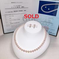 ¥59,800 アコヤ真珠ネックレス花珠鑑別付きk14WG ピアスセット新品桐箱付き