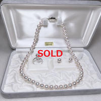 ¥62,700 アコヤ真珠ネックレス7.5-8.0mm ピアス リングセット新品ケース付き