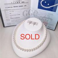 ¥79000 アコヤ真珠ネックレス8.5-9.0mm 花鑑 k14WG ピアス新品ケース付き