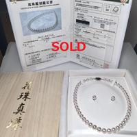 ¥194,000 アコヤ真珠ネックレス8.5-9.0mmオーロラ天女 ペア付き新品桐箱付き