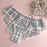 Mannish checked panty(gray×pink)
