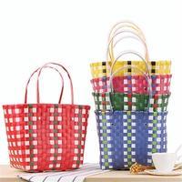 ケーブル編み かご バッグ