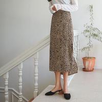 バックウエストゴム レオパードスカート
