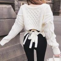 バックリボン Vネック セーター