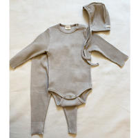 rib rompers & leggings & bonnet 3set