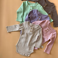 baby waffle wood button rompers