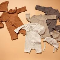 new born !  slub rib - rompers& bonnet  set