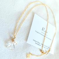 三角水晶×淡水パールのスライドボール付きチャーム式ネックレス (45cm) K14GF