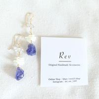 タンザナイト×白珊瑚×ハーキマーダイヤモンドのピアス(イヤリング)K14GF