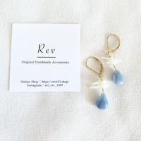 ブルーオパール×白珊瑚のフレンチフックピアス(イヤリング)K14GF