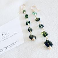 最高品質【宝石質】グリーントルマリンのロングピアス(イヤリング)K14GF