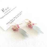 【6月 お誕生石】グレームーンストーン×ピンク系天然石のピアス(イヤリング) K14GF