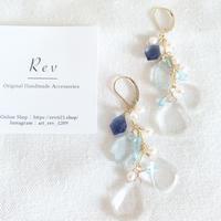 水晶×ブルー系天然石のロングピアス(イヤリング)K14GF