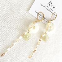 白蝶貝×レモンクォーツ×ロングチェーンのフレンチフックピアス(イヤリング) K14GF