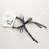 【受注商品】近所の猫マスク02(紺白花柄)