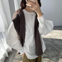 【shi004】ボリュームスリーブバンドカラーシャツ(2カラー)