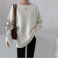 【kn002】ラインボタンルーズニットセーター(4カラー)