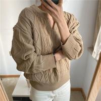 【kn004】キーネックケーブルニットセーター
