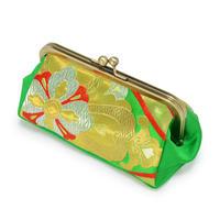 和柄がま口ポーチ 緑金糸帯リメイク