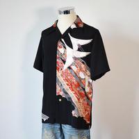 着物アロハシャツ_鶴と古典柄