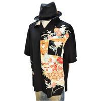 着物アロハシャツ_花車と牡丹留袖 大きいサイズ