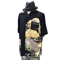 着物アロハシャツ_流水とあやめ留袖 大きいサイズ