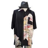 着物アロハシャツ_牡丹と菊と鶴留袖 大きいサイズ