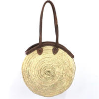 Moroccan Palm Hand Woven Basket  Bag   /モロッコ製 ハンドメイド バスケットバッグ