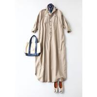 BLUEBIRD BOULEVARD Military Style Maxi Shirt Dress /ブルーバード ブルバード コットンリネン サテンバック シャツドレス FADRE01C14R