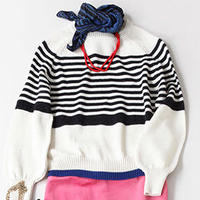 BLUEBIRD BOULEVARD  Striped knit Pullover /ブルーバード ブルバード  ボーダークルーネックセーター
