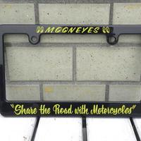 モーターサイクル ブラック ライセンス フレーム Share The Road with Motorcycle MG130MSH