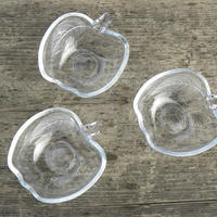 ヴィンテージ KIG INDONESIA Clear  Glass Apple Shaped Bowl 小3個セット