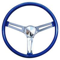 "California Metal Flake Steering Wheels 34cm(13.5"") SLOTTED HOLE SPOKES [GS260CMBL]"