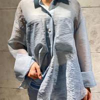 EN20003 オーガンジーシースルーシャツ ブルー
