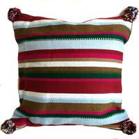 アフガニスタンの手織り布 オリジナル柄マルチカラークッションカバーRE