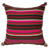 アフガニスタンの手織り布 マルチボーダー クッションカバー Wine
