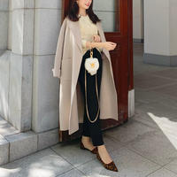 Handmade double wool coat / cream beige