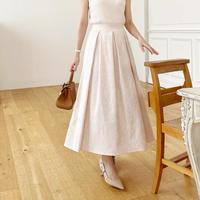 MADE' jacquard tuck flare skirt / pink beige