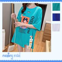 Tシャツ レディース 夏 トップス プリント 英字ロゴ 半袖 オーバーサイズ ビッグシルエット カットソー ダンス 衣装 原宿系 派手 個性的 韓国ファッション 可愛い ライトブルー ブルー ホワイト