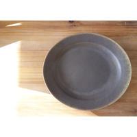 サビ釉 楕円リム皿 大(茶)Tサビユ012