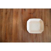 鉄散 八角長方皿(ケーキ皿)白 Tテツサン 47