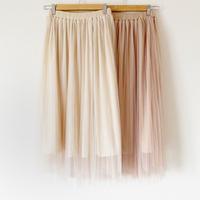 Wチュールプリーツスカート