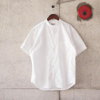 Manual Alphabet〈マニュアルアルファベット〉 LOOSE FIT BAND COLLAR S/S SHIRT WHITE
