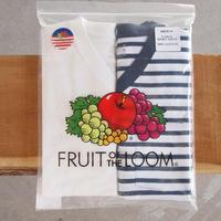 FRUIT OF THE LOOM〈フルーツオブザルーム〉 V-NECK PACK TEE(2枚組) NAVY BORDER
